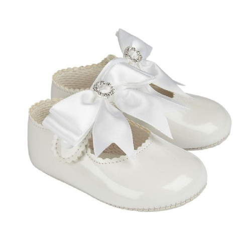 Large Bow and Diamante Detail Soft Sole Shoe